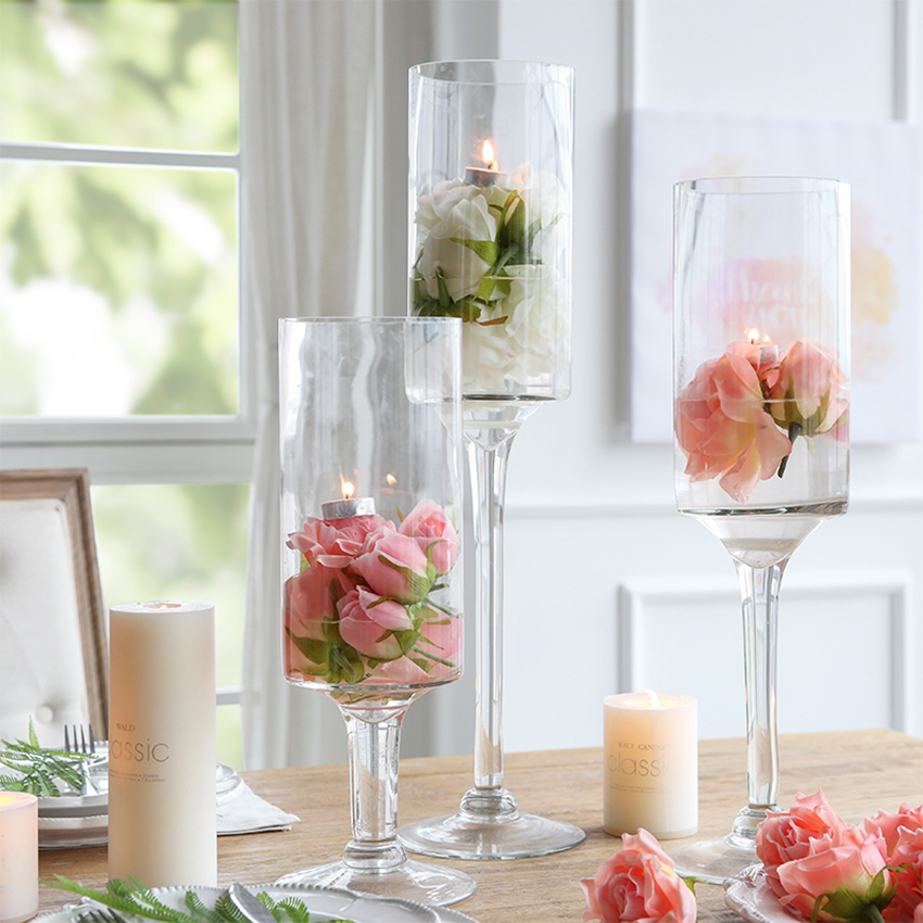 European Wedding Glass Vase transparent Tall vase Tabletop terrarium glass containers creative vase decoration home