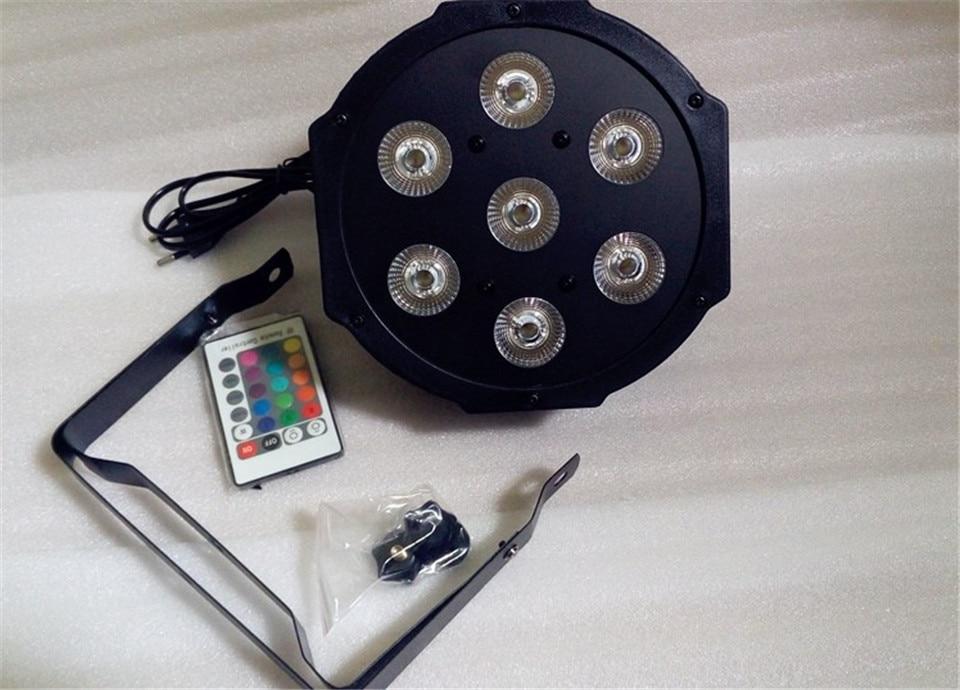все цены на 6 unids/lote Control remoto led par 7x12 w rgbw 4in1 led de lujo luces dmx 4/8 canales led par plana онлайн