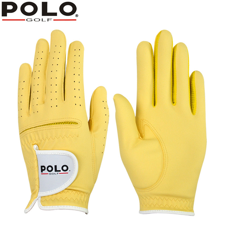 POLO Golf childrens Sports gloves golf Boys and girls Colorful Leather PU soft breathable golf gloves child Right & Left Hands