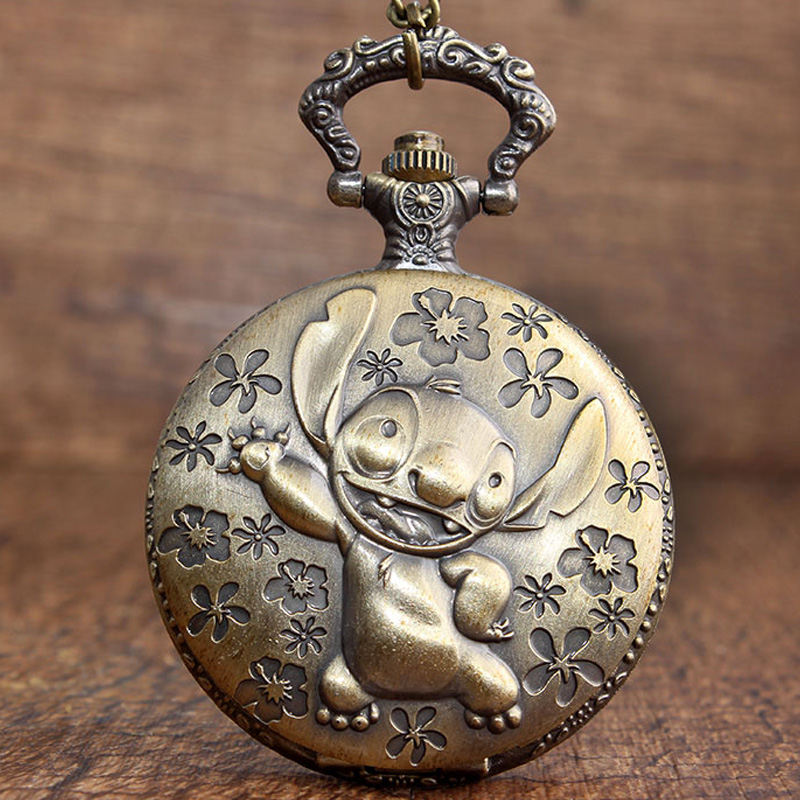 Bronze  Vintage Anime Lilo & Stitch Quartz Pocket Watch Cute Koala Dog Fob Watch With Chain Pendant Boy Children Watch Men