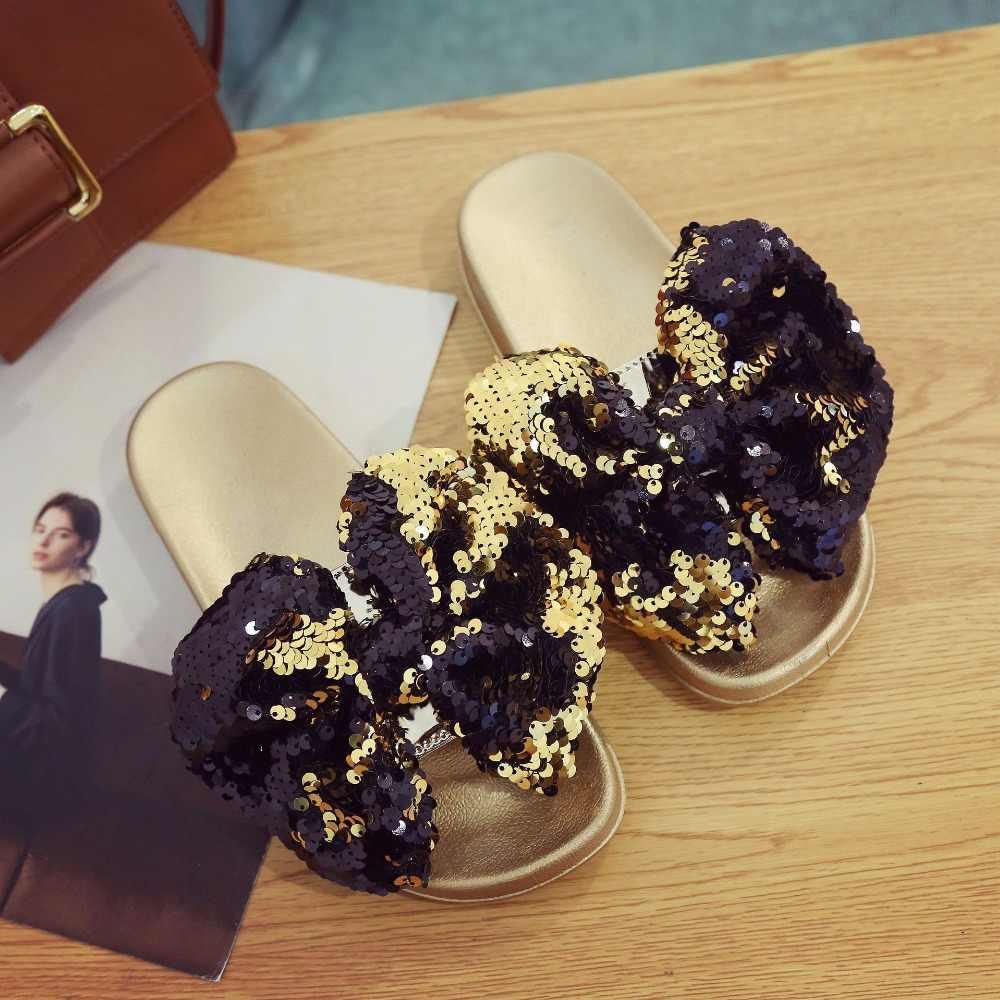 2eae1b4a6b60 new slippers women bling bling big bow knot open toe slides femme gold  silver fashion