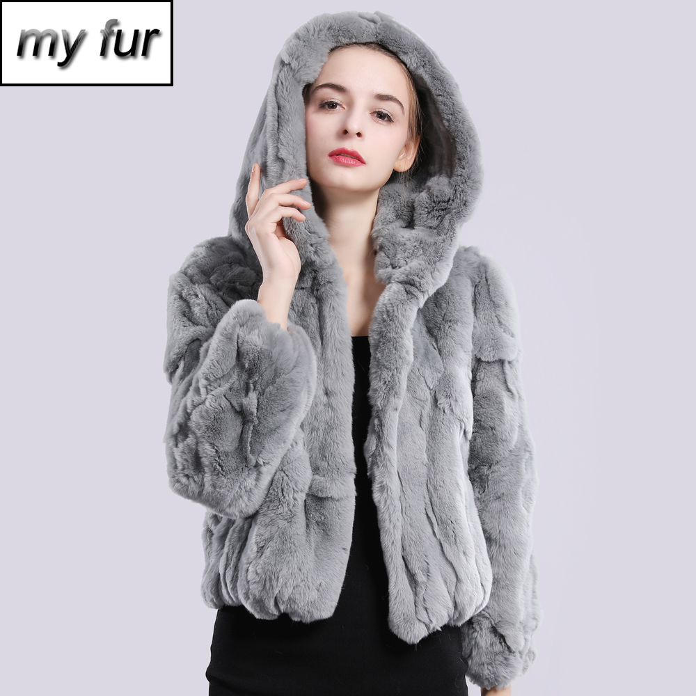2019 New Style Winter Genuine Real Rex Fur Jacket Women Fashion Brand Rex Rabbit Fur Coat