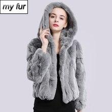 Женская меховая куртка с капюшоном, модная брендовая зимняя куртка с натуральным кроличьим мехом и капюшоном, 2020