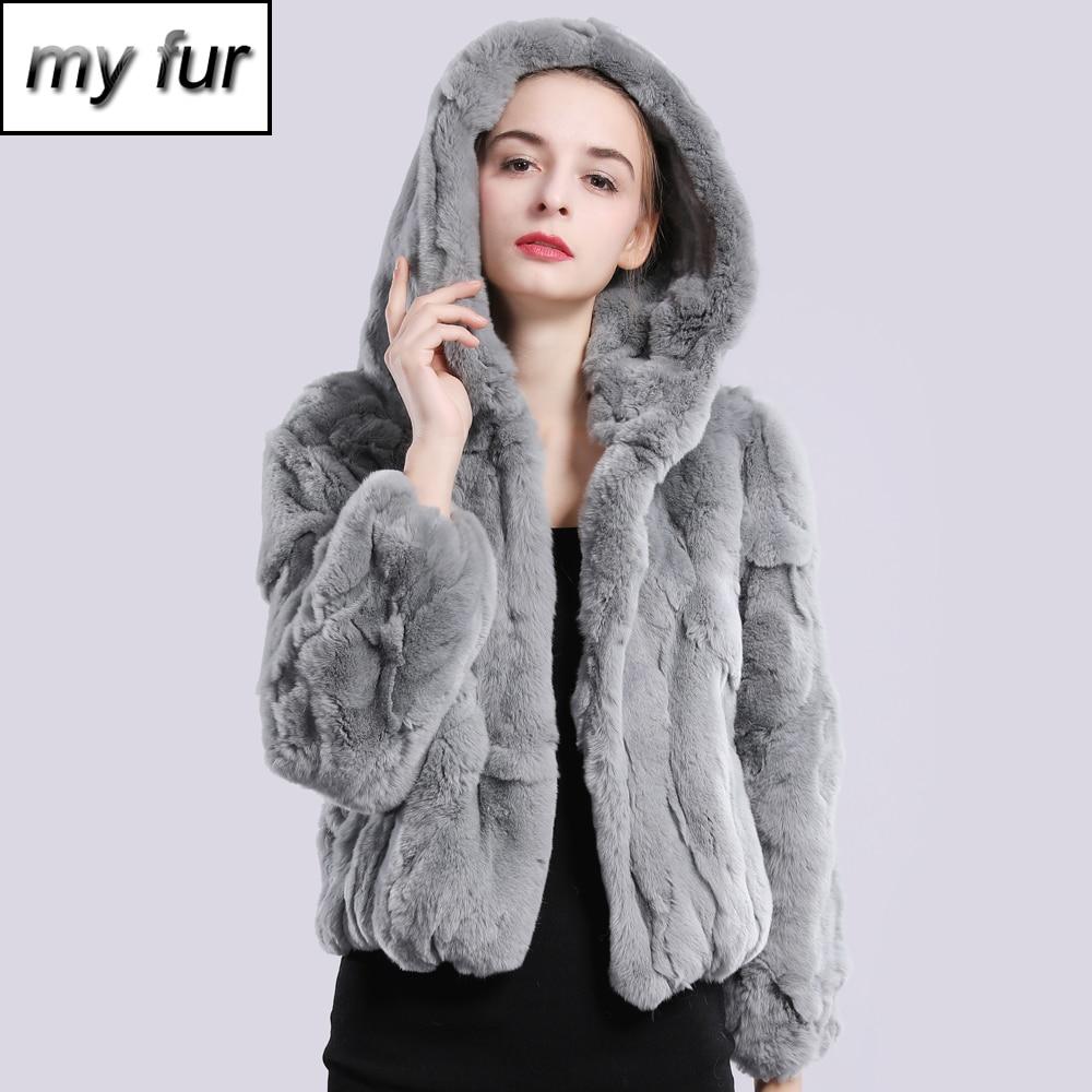 Frauen Lange Real Strick Kaninchen Pelz Mantel Taschenjacke Real Casual Super