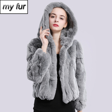2020 New Style Winter Genuine Real Rex Fur Jacket Women Fashion Brand Rex Rabbit Fur Coat Natural Rex Rabbit Fur Hooded Overcoat