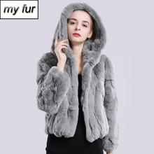 2020 yeni stil kış hakiki gerçek Rex kürk ceket kadın moda markası Rex tavşan kürk ceket doğal Rex tavşan kürk kapşonlu palto