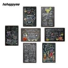 Cartel de cóctel de Metal, placa de Tintín, Vintage, Bar, tienda del Club, decoración del hogar, Maison, carteles de pared, emaille borden, 20X30 CM