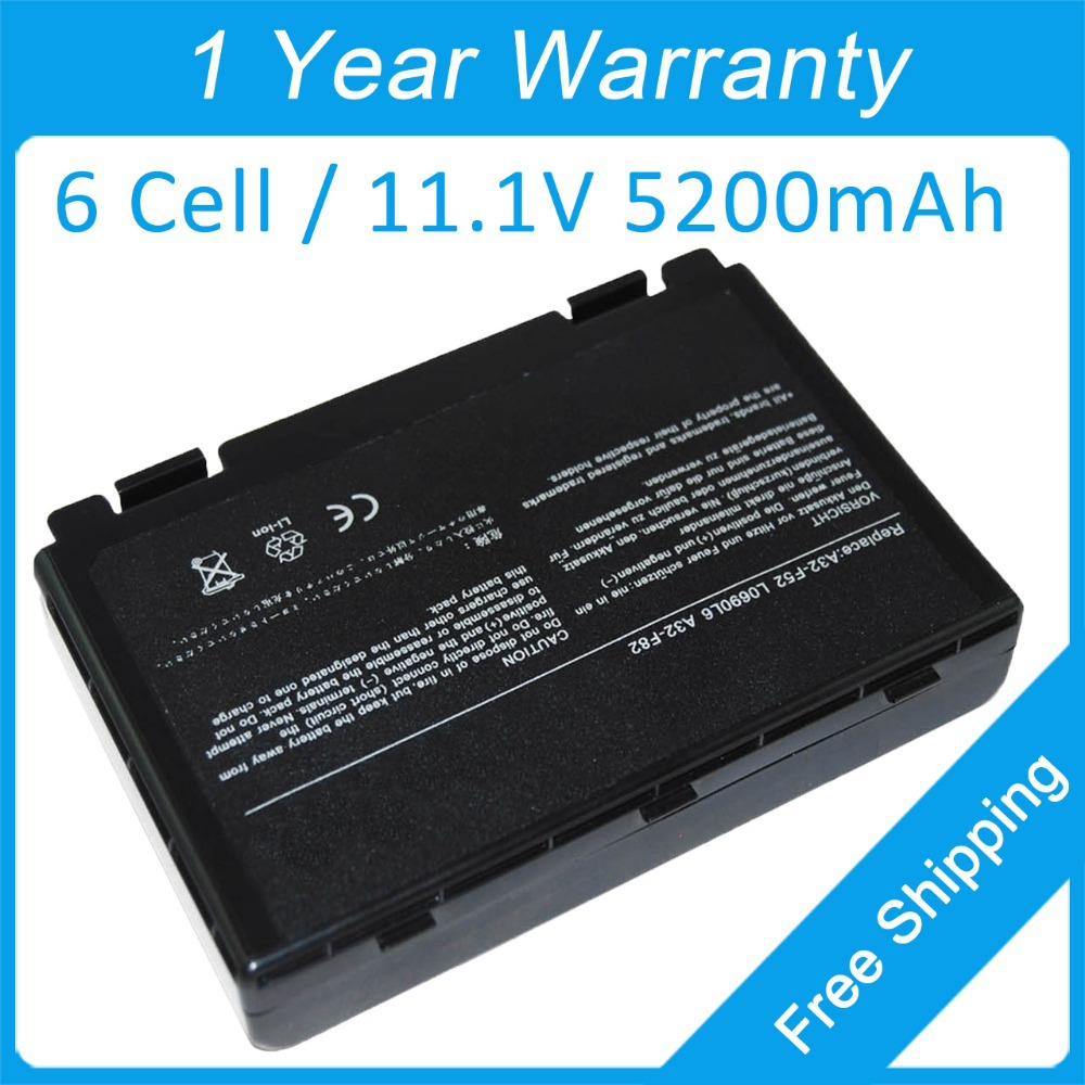 New laptop battery for asus X5J X65 X87 K40I K50I X70Z X8AS X70I F82Q X5DIN Pro5DAB A32-F52 A32-F82