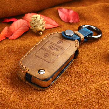 KEYYOU Leather Key Case cover For VW Volkswagen polo passat b5 golf 4 5 6 jetta mk6 tiguan Gol CrossFox Plus Eos Scirocco Beet