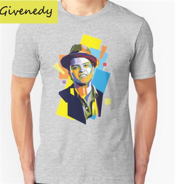 Bruno Mars PolygonART Printed men T shirt Fashion 2016 New summer design casual Short Sleeve O Neck Cotton T-shirts