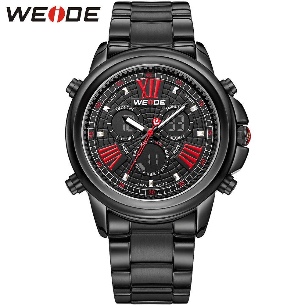 ФОТО WEIDE Luxury Brand Men's Sports Fashion Watches Gift Watch Red Black LCD Analog Digital 30 Meter Water Resistant Wristwatch