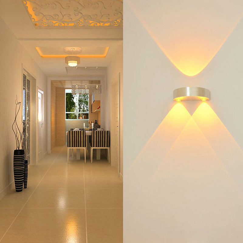 <font><b>Half</b></font> <font><b>Moon</b></font> Home Indoor LED 3W Wall Lamp Modern Hall Walkway Porch Decor Lamp Wall Mounted LED Light