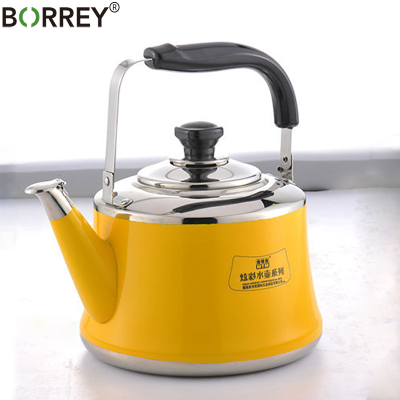 BORREY 2L Induction Cooker Kettle Whistling Kettle Stainless Steel Outdoor Pot Bouilloire Camping Gas Stove Kettle Cooking Tools