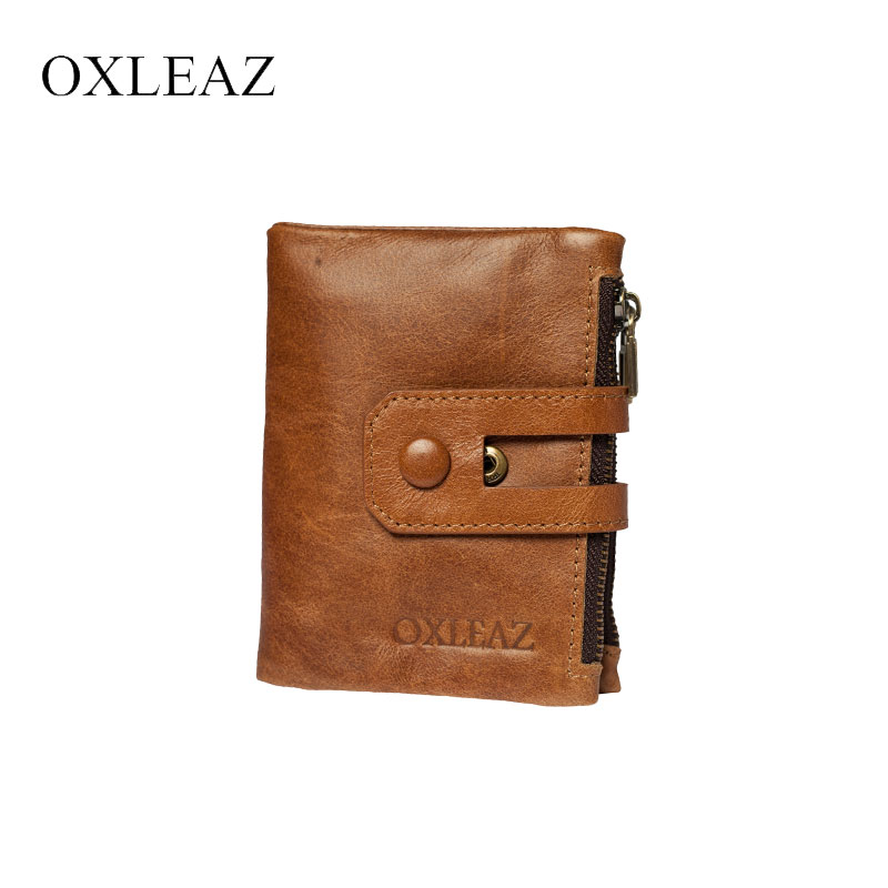 OXLEAZ Top Quality RFID Vintage Male Purse Coin Bag Money Bag Double Zipper Purse Female Genuine Leather Card Holder Wallet oxleaz soft zipper wallet men clutch bag vintage hand bag high quality long genuine leather male wallet money card purse pouch
