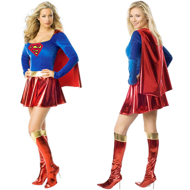 Superman Female Cosplay Costume Sexy Fancy Dress for Women Ladies Girls Halloween Costumes