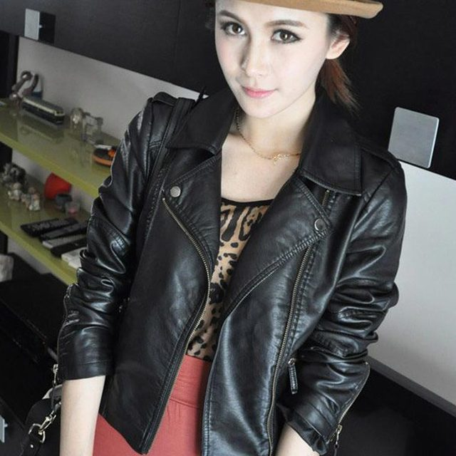 2016 New Fashion Women's PU Leather Zipper Motorcycle Bomber Jacket Coat Black