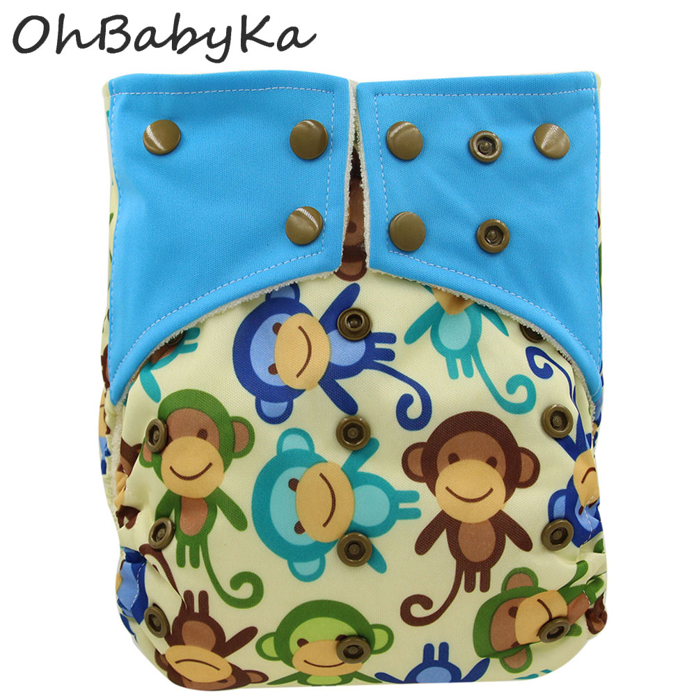 OhBabyKa Infant Baby Reusable Diaper Nappies Washable Bamboo Charcoal AI2 Cloth Pocket Diapers with Insert Microfibra 18Colors