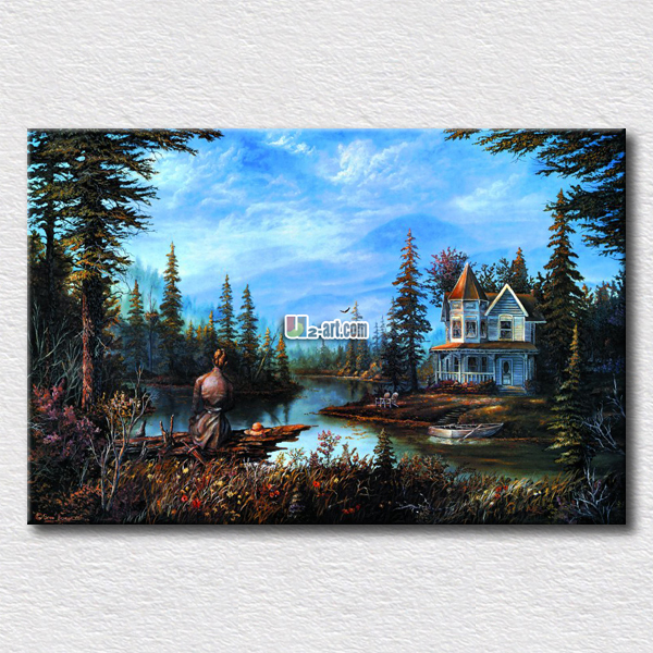 Small house in <font><b>the</b></font> <font><b>other</b></font> <font><b>side</b></font> oil painting hang on <font><b>the</b></font> bedroom wall country <font><b>life</b></font> pictures gift for friends