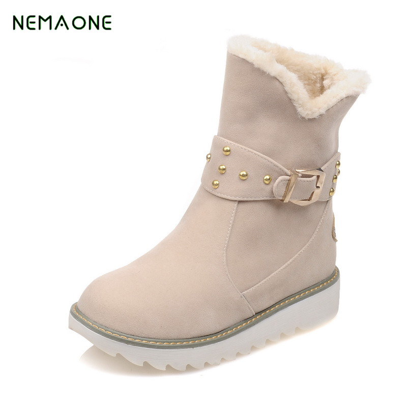 NEMAONE 2017 Women Winter Boots Suede Ankle Snow Boots Female Warm Fur Plush Insole High Quality Botas Mujer 2017 new fashion women winter boots classic suede ankle snow boots female warm fur plush insole high quality botas mujer lace up