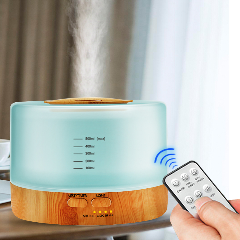 500ML Ultrasonic Humidifier With Remote Control Aroma Oil Diffuser High Capacity Aromatherapy 7 Color LED Lights Change For Home