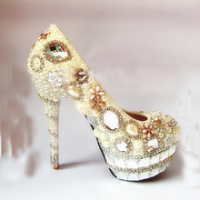 New Spring Handmade Imitation Pear Wedding Shoes Crystal Round Toe Shoes Lady Party Shoes Women Evening High Heel Shoes