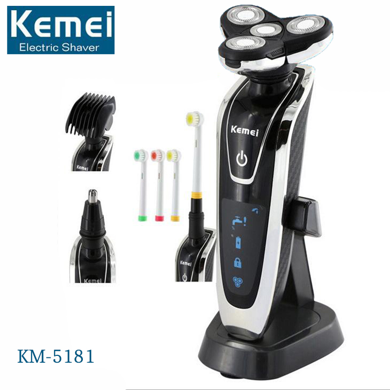Kemei 4-In-1 Men's 4D Rechargeable Shaving Machine Electric Shaver Hair Trimmer Clipper Beard Trimmer Razor Face Care KM5181 in 2017 the new primitive man shaving machine 4 d waterproof charging crime electric razor the three razor head man shaved the