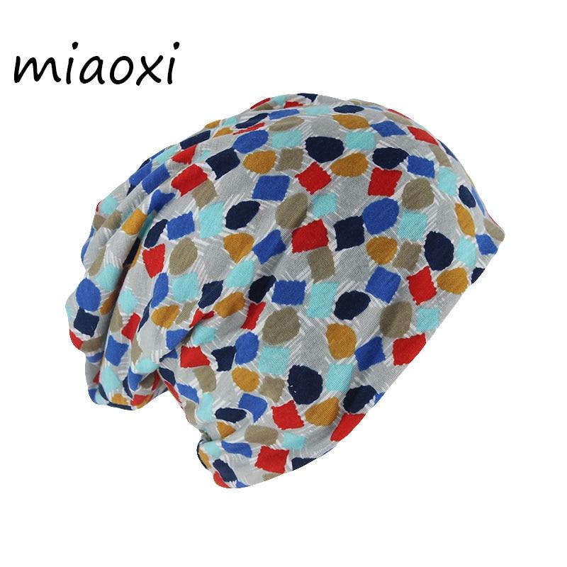 Miaoxi High Quality New Fashion Women Beanies Skullies Dot Cotton Hat Caps For Female Dual Purpose Girl Bonnet Comfortable Scarf