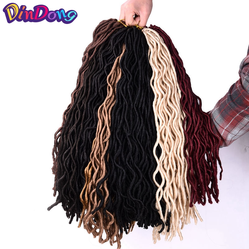 "DinDong Goddess Faux Locs Curly Crochet Braids Hair Kanekalon Synthetic Dreadlocks Hair Extensions 24 Roots 10"" 20"" For Women"