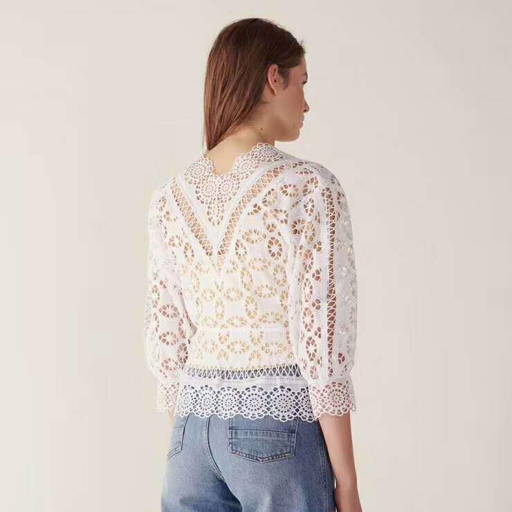 OXANT Женская кружевная рубашка Haute Couture весна новый супер фея сексуальный полый v образный вырез рог рукав длинный рукав красный Женский топы - 4