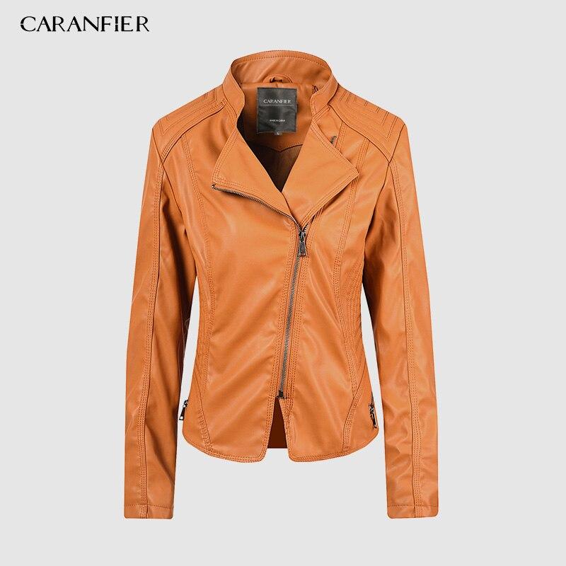 CARANFIER Faux   Leather   Jacket Women Brand Zipper Ladies   Suede   Motorcycle Punk Biker Jackets Street Long Sleeve Biker Jacket