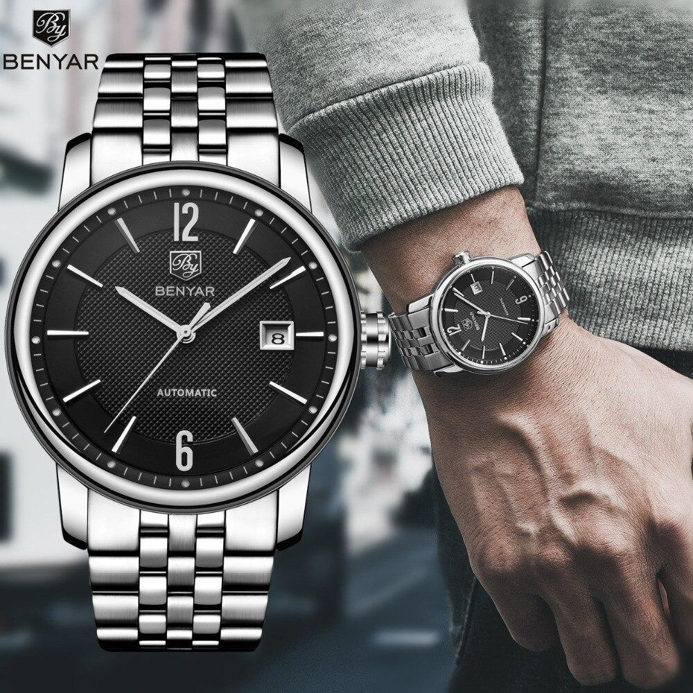 BENYAR лучший бренд класса люкс Для мужчин s часы Бизнес полный стали Мода Повседневное Водонепроницаемый автоматические часы Для мужчин часы ...