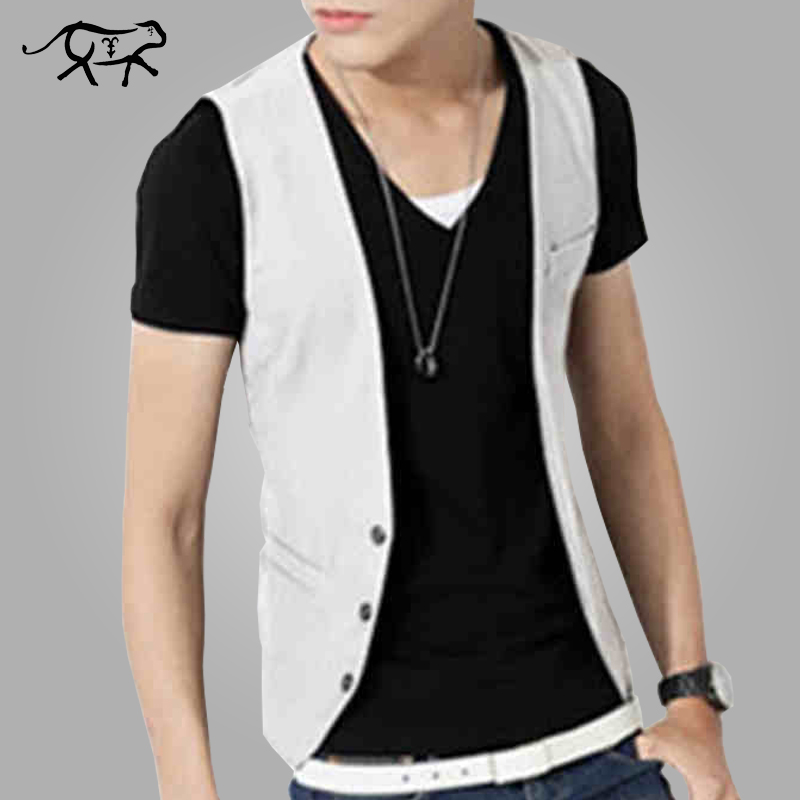 Low Price Men Vest New Style Fashion Slim Fit Men's Clothing V-Neck Blazers Vest Thin Section Male Casual Waistcoat Male Black