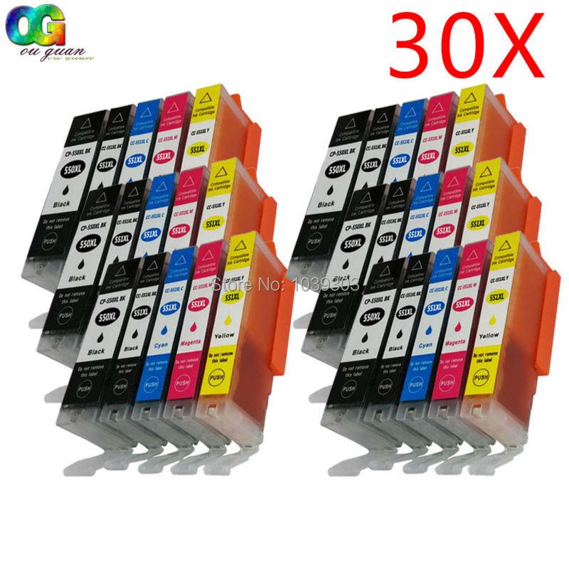 30 x Совместимый картридж CANON 550 551 PGI-550 CLI-551 XL для canon MG5650 IP7250 MG5550 MG6450 MG5655 MG6350 MG7550