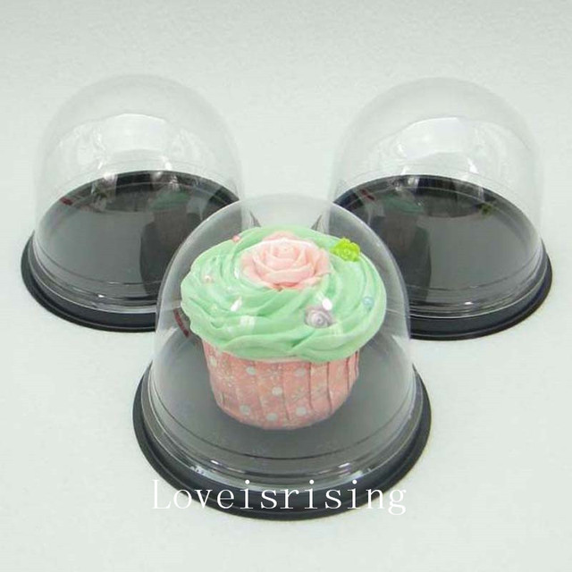 50sets 100pcs Clear Plastic Cupcake Packaging Box Cake