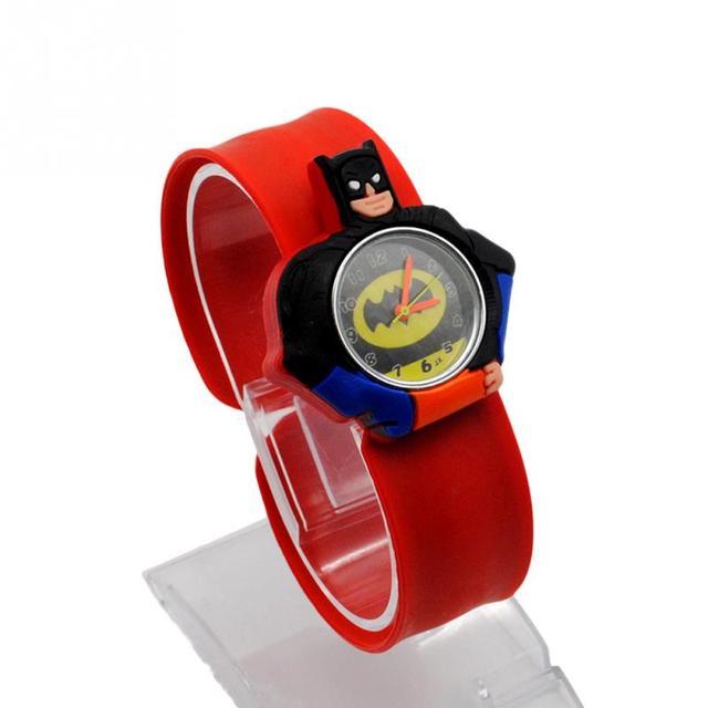 Hot Sale Children Cute Jelly Cartoon Watch Batman Pikachu Luffy Q Version Quartz Watch Snap Watches Kids Clock Relogio Feminino