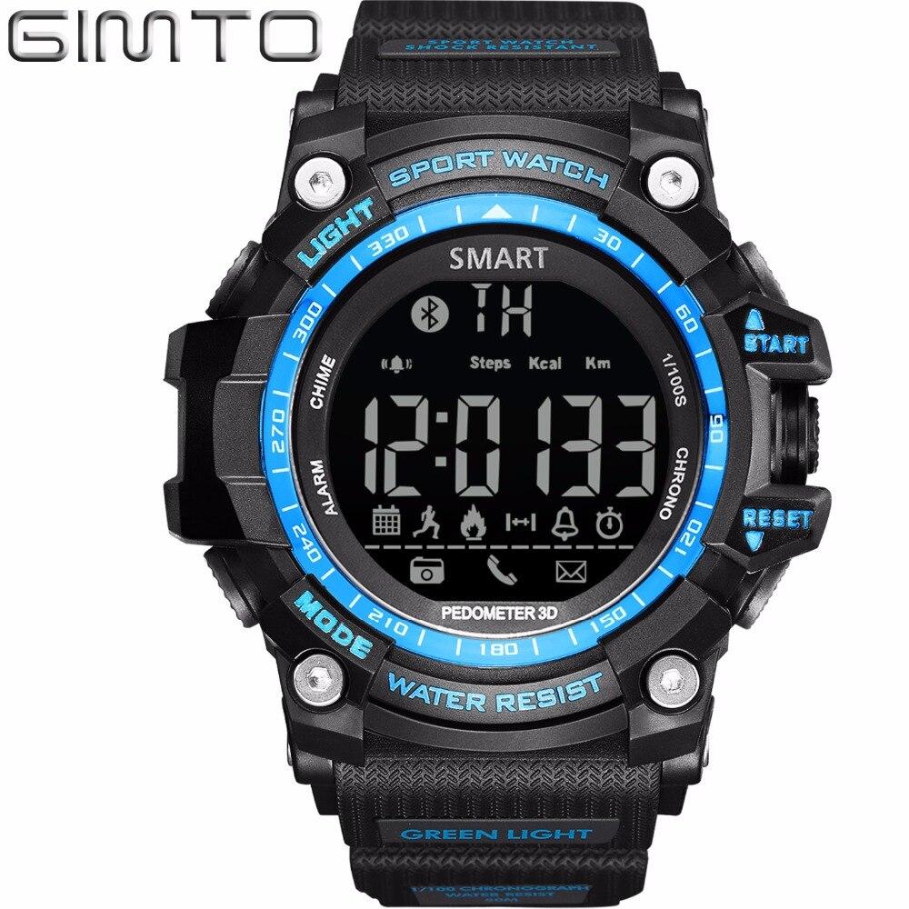 2017 GIMTO Digital Smart Watch Men Waterproof LED Diving Sport Watch Pedometer Smartwatch Army Shock Electronic Wrist Watches