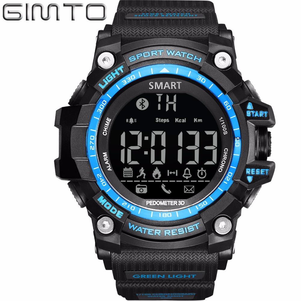 Prix pour 2017 GIMTO Numérique Smart Watch Hommes Étanche LED Plongée Sport Montre Podomètre Smartwatch Armée Choc Électronique Poignet Montres
