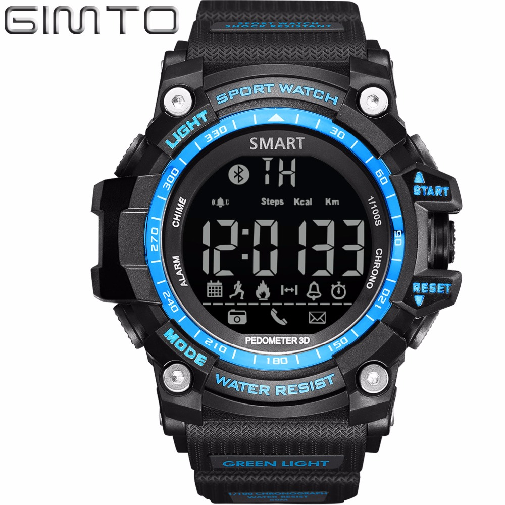 2017 GIMTO Digital Smart Watch Men Waterproof LED Diving Sport Watch Pedometer Smartwatch Army Shock Electronic Wrist Watches