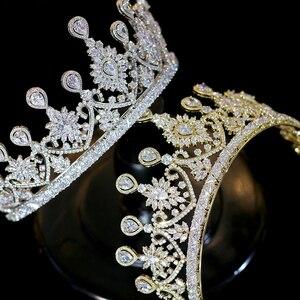 Image 4 - Nuevas Tiaras De boda De lujo para mujer, forma grande, corona, accesorios para el cabello