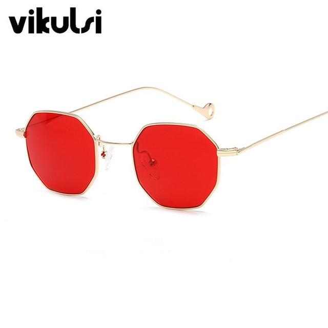 Trends Women Sunglasses Small Frame Polygon Clear Lens Sunglasses Brand Designer Men Vintage Sun Glasses Hexagon Metal Frame JWcfD9ex