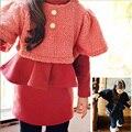 Coreano Meninas Conjunto de Manga Longa Outono Inverno Meninas Define Crianças Inverno conjunto de Roupas Menina Miúdo Colete E Vestido 2 Pcs Roupa Dos Miúdos