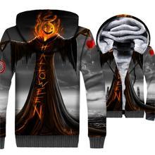 casual fitness jacket men thick brand tracksuit Halloween fashion 3D prints clothing 2018 winter rib sleeve zipper jackets coats