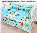 2016! 6 unids 100% cama cuna de algodón, niño y niña ( bumpers + hojas + almohada cubre )