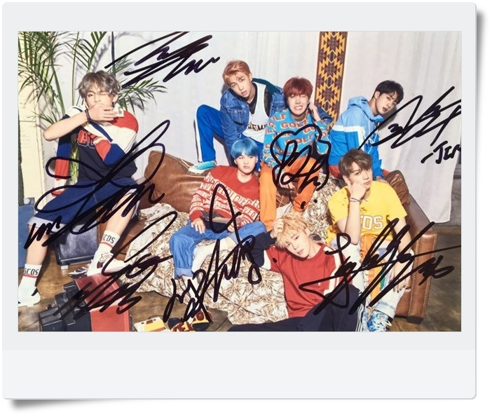 signed BTS autographed group photo LOVE YOURSELF  4*6 inches  freeshipping 09201701
