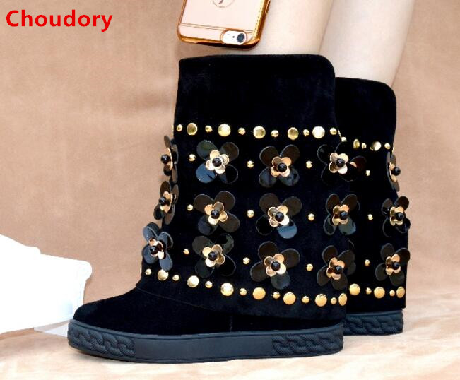 8CM wedge heels flowers crystals charming turned-over-edge rivets boots spring autumn black suede height increasing ankle boots