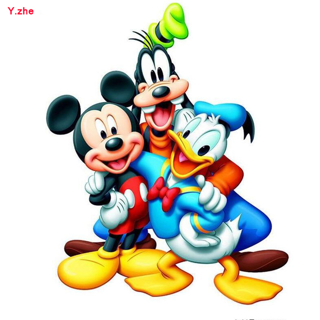 New Diy 5d Diamond Painting Animal Donald Duck Mickey