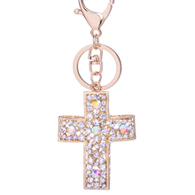 Keychain!Full Rhinestone Cross Key Chain Rings Holder Charms Keyring Women Bag Keyfobs Creative Jewelry Christian Gifts R041