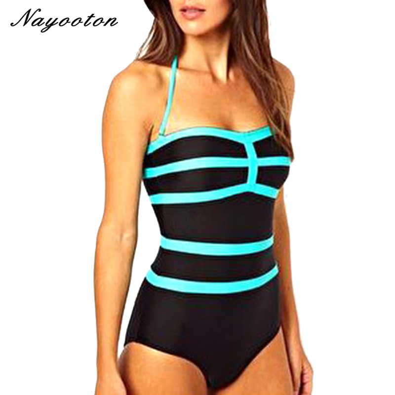 2018 new spell color sky blue stitching simple piece swim swimwear cover the belly was thin swimsuit Conservative Europe D036