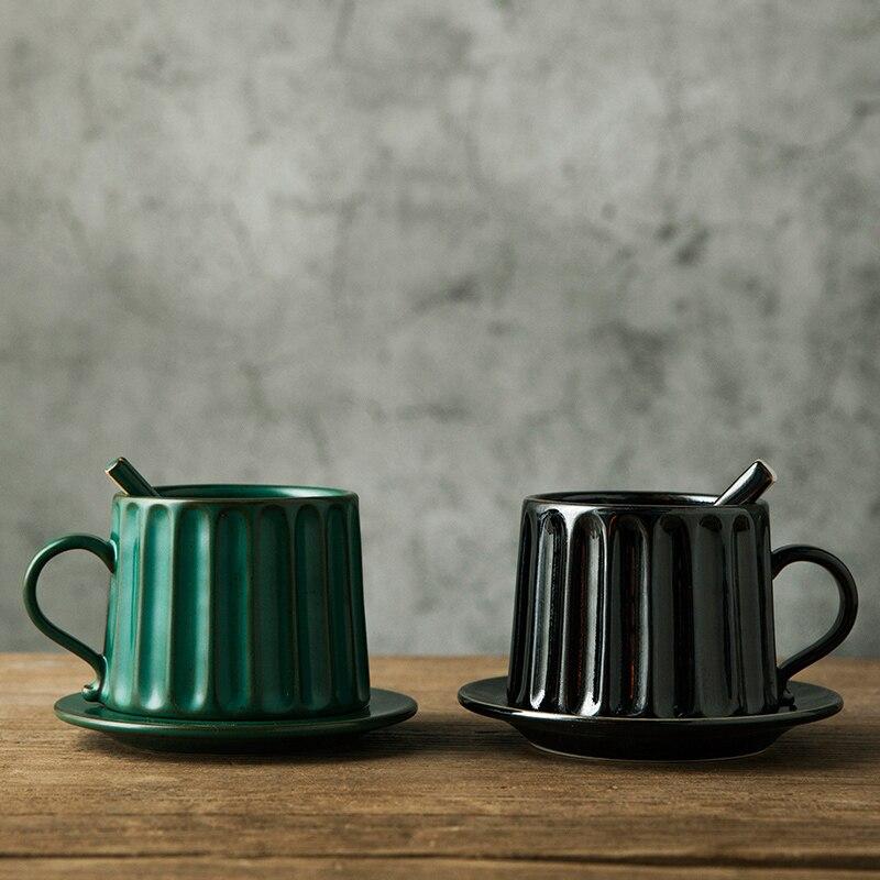 European Roman Column Ceramics Coffee Cup and Saucer Jingdezhen Handmade retro coffee cup Set  with coarse clay art cup Tea Cup