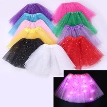 цены на Fashion Light up LED Kids Girls Princess Stars Sequins Party Dance Ballet Tutu Skirts tule children skirt Dance Wear 17 colors  в интернет-магазинах